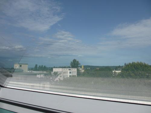 Blick von der RM16 durch das neue Dachfenster Auf das Sachsenbad.