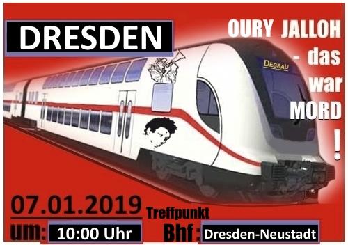 Organisierte Zuganreise aus Dresden zur Oury Jalloh Gedenkdemonstration am 7. Januar 2019 in Dessau: