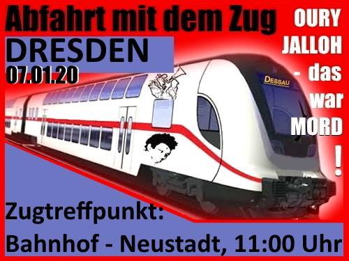 07.01.2020: Anfahrt-Infos von Dresden zur Gedenkdemonstration zum 15. Todestag von Oury Jalloh
